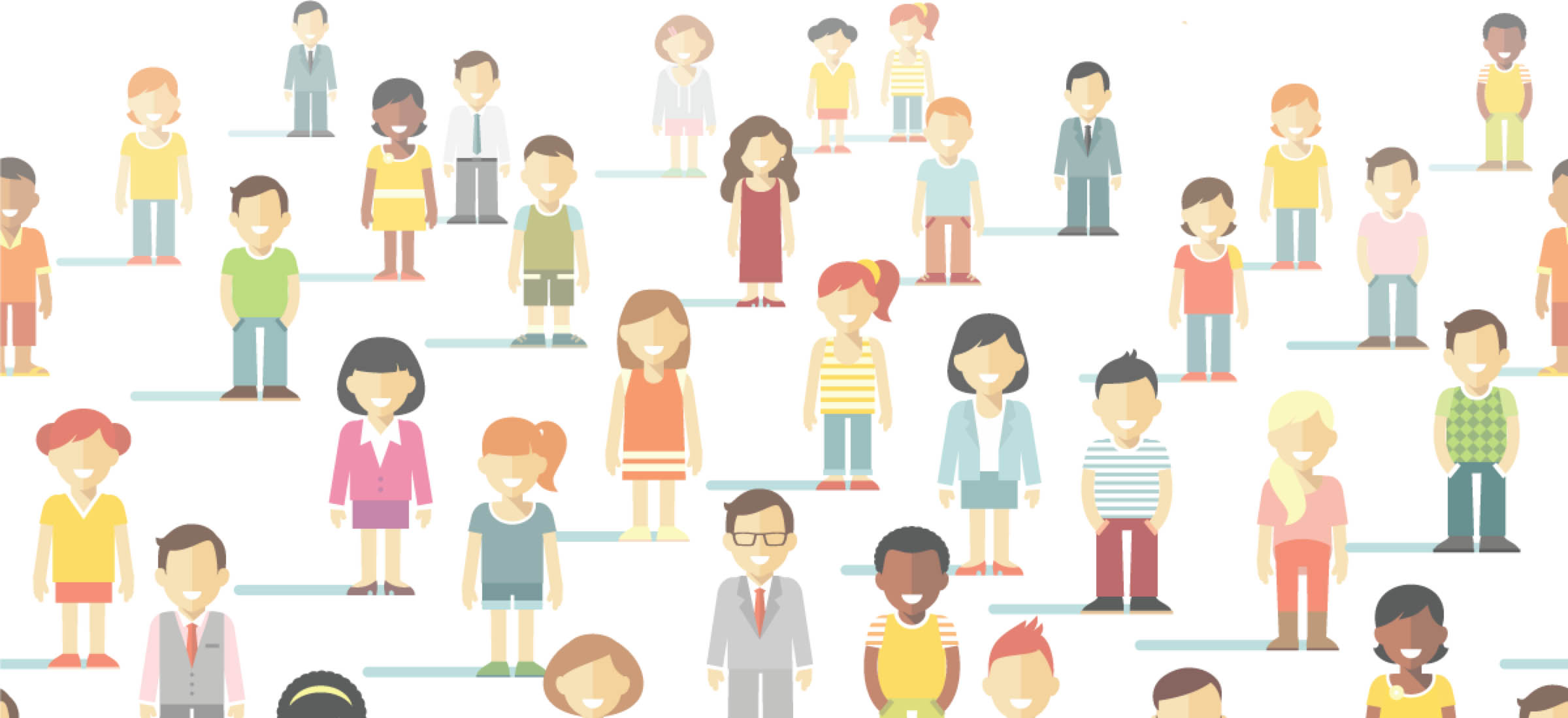 Collage of illustrated people representing diversity